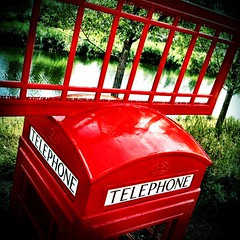 Telephone Box Art, London 2012 Olympic Park (firstnameunknown) Tags: park camera red sculpture art 6x6 water river clarity publicart olympic telephonebox london2012 artinthepark soemo iphoneography