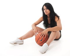 Rest break (HouseofPIC) Tags: portrait england hot sexy girl beautiful basketball sport ball dark model nikon moody garage hampshire spotlight sporty strobe elinchrom d90 dlite strobist