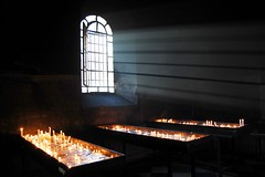 Santuario della Madonna della Guardia, Genova (Blind Spot Jewellery) Tags: light italy window fire italia candle smoke liguria flame genoa genova milagros beams santuario exvotos madonnadellaguardia