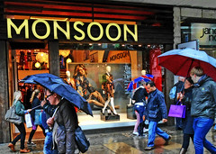 Monsoon (DncnH) Tags: street people london wet rain shop umbrella rainy monsoon oxfordstreet downpour