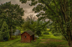 It-Stopped-Raining (desouto) Tags: flowers sky nature water clouds barn stream stones shed lakes ponds hdr