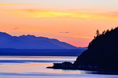 Olympic sunset (James_D_Images) Tags: whidbeyisland washingtonstate south whidbey pugetsound admiraltyinlet olympicmountains pacific west ocean evening sunset dusk layers yellow orange blue purple trees silhouette