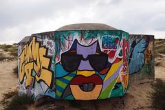 Graff on blockhaus [Cap Ferret, France] (biphop) Tags: europe france aquitaine truc vert dune blockhaus graff graffiti