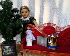 Christmas Scene (TheEdwardianGirl) Tags: christmas christmasday christmasdecorating xmas holiday holidaydecorating doll dolldress americangirl americangirldoll couch victorian victorianera victorianchistmas edwardian edwardianera edwardianchristmas merrygoround miniature