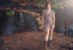 Charlotte - Calver_230911_0193b (Steve Bark) Tags: charlotte model female woman girl dress water river stepping stones carver weir peak district derbyshire england uk nikon d700 speedlight fx