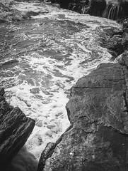 rocks, surf, foam, into the sun, Pemaquid Point, Maine, Mamiya 645 Pro, Ilford HP4+, R5 Monobath Developer, 8.24.16 (steve aimone) Tags: intothelight intothesun sun glare rocks surf foam ocean atlanticocean pemaquid pemaquidpoint maine midcoast monochrome monochromatic mediumformat 120 film blackandwhite mamiya645pro mamiyasekkor80mmf28