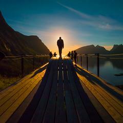 Bergsbotn view (Man in sunset) (Reidar Trekkvold) Tags: senja bergsbotn norway nordnorge troms natur nature sun sol viewpoint sommer summer fjord sea seaside sjø sunset kveld evening