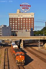 "Westbound Autorack Train in Kansas City, MO (""Righteous"" Grant G.) Tags: bnsf railway railroad locomotive train trains west westbound kansas city missouri union station"