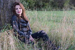 Nina (Denis Bence) Tags: outdoor attractive beautiful beauty black brown brunette cute environment eyes face female girl goodlooking grass ground hair human jacket leather lips model nature nice people perfect person portrait sit sitting skin smile smiling tree woman