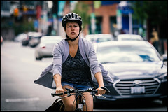 Bank Street Cycling Girl (Dan Dewan) Tags: centretown dandewan bicycle canon7dmarkii canonef70200mm14lisusm street canon september colour cyclist woman blue ottawa summer sunday portrait  eyes photographist ontario lady bankstreet face bike 2016