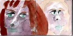 Ihre Schwester, Ihre Schwester! Es war immer ihre Schwester, das blonde Luder und wie unschuldig sie aus der Wsche schauen konnte (raumoberbayern) Tags: sketchbook skizzenbuch tram munich mnchen bus strasenbahn herbst winter fall pencil bleistift paper papier robbbilder stadt city landschaft landscape auto car red rot