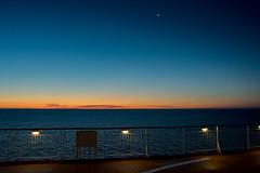 just before dawn (e-box 65) Tags: vestfold norwegen no norge bluehour blauestunde sonnenaufgang sunrise dawn colorline oslo oslofjord meer schiff himmel mond norway sky night moon thebluehour