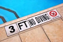 No Diving (dataflurry) Tags: summer 3 feet public pool sign danger swimming swim warning three dangerous no steps dive injury diving safety accidents tiles caution ft summertime safe reminder warn precaution injure
