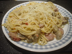 Pasta and Sausage (mooshee85) Tags: red food mushroom cheese dinner lunch pepper sausage pasta meal alfredo noodle spaghetti fried parmesan mozzarella creamy roasted hearty classico sause