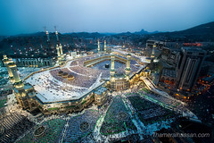 The Holy Grand Mosque in Makkah - Heart of Islam (www.thameralhassan.com Thamer Al-Hassan) Tags: makkah mecca saudi islam islamic muslim religious religion mosque dusk blue sky mountain arabia arab buildings minarets light lowlight    arabian arabic architecture attraction bluehour building canon center city cityscape colored composition dynamic exposure expression faith hyperfocal image jeddah fineart longexposure kigdom kingdom ksa middleeast modernart monument muslims people perspective photo photographer photography picture polarizer pray prayer quran ramadan ramadhan saudiarabia saudia saudiarabian saudies saudis stunning travel