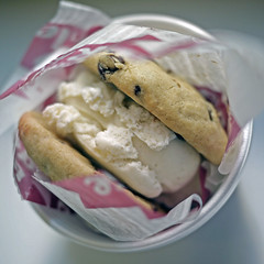 ice cream sandwich (.michael.newman.) Tags: california food square losangeles yummy cookie chocolate sandwich eat icecream vanilla westwood iatethis icecreamsandwich chocolatechipcookie diddyriese