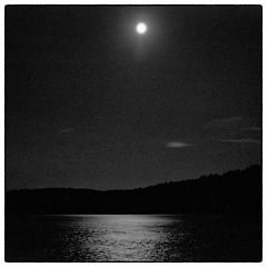 Midnight Moon - Parsonsfield, ME (gastwa) Tags: camera bw moon white lake black reflection 6x6 film mediumformat pond lowlight focus fuji maine rangefinder delta andrew pro fujifilm medium format manual 3200 bellows ilford fujinon folding foldable 80mm f35 parsonsfield gf670 gastwirth andrewgastwirth