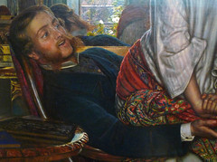 William Holman Hunt, The Awakening Conscience, detail with man