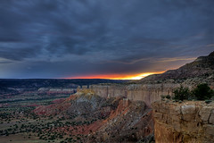Sunset at Ghost Ranch, from Chimney Rock Mesa (Mitch Tillison Photography) Tags: sunset newmexico southwest landscape desert scenic hdr highdynamicrange abiquiu ghostranch georgiaokeeffe chinleformation pentaxk5 mitchtillison chimneyrockmesa