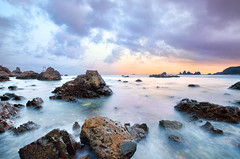 Dusk at Oze Rocky shore [Explore] (-TommyTsutsui- [nextBlessing]) Tags: longexposure blue light sunset sea summer orange seascape beach nature rock japan clouds landscape nikon purple dusk magic tide scenic shore      islet izu oze    minamiizu sigma1020   onsalegettyimages