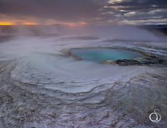Geothermal Colours (antonyspencer) Tags: blue sunset mountains pool rock sunrise landscape iceland highlands aqua turquoise lagoon steam sulphur colourful geothermal geothermic antonyspencer iq180
