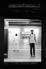 Times Sq Stn (RoryO'Bryen) Tags: roryobryen rangefinder newyork newyorker subway underground blackandwhite city noiretblanc leicam leicam6 50mm summicron ilfordfp4 film ishootfilm yesfilm station timessquare manhattan blackdiamond copyrightroryobryen analog 35mm m6 messsucher