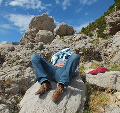 Resting  giant (E Pulejo) Tags: strange relax island capri coast rocks head climbing covered rest shape laying