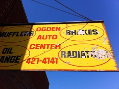 Ogden Auto Center, Chicago IL (k.james) Tags: auto car sign yellow fix typography peeling paint repair brakes ogden oval oilchange kenthenderson signpainter mufflers ogdenautocenter