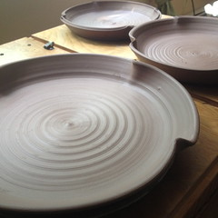 Large wheel-thrown plates, drying. (Ceramic Design by Cherie) Tags: ceramics pottery plates dishes stoneware platters cdbc cheriegiampietro ceramicdesignsbycherie