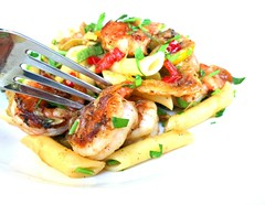 Shellfish with Penne and peppers