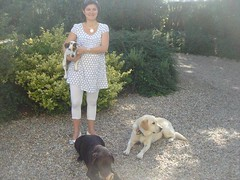 Coralie de Bouard shows off the three family dogs