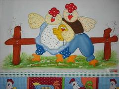 Pano de prato família, mãe, pai e filhote (Pintura em tecido. Panos de prato.) Tags: pinturacountry panosdeprato panodecopa