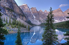 Valley of the Ten Peaks (dbushue) Tags: morning trees lake mountains nature sunrise reflections landscape dawn nikon peaks albertacanada 2012 banffnationalpark glacial morainelake valleyofthetenpeaks coth supershot lakelouisevillage absolutelystunningscapes d7000 damniwishidtakenthat coth5 photocontesttnc12 dailynaturetnc12 sunrays5