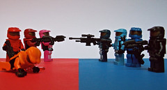 Red vs Blue (Nick Brick) Tags: blue red lego teeth halo rooster vs rvb brickarms brickforge