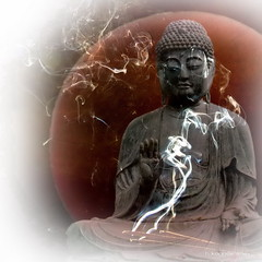 Offering (h.koppdelaney) Tags: life art digital photoshop peace view symbol buddha smoke religion picture buddhism philosophy holy harmony mind offering meditation teaching spirituality awareness metaphor enlightenment stillness psyche symbolism psychology archetype conscious koppdelaney