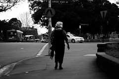 _ ___ ____ (SixtyEight.) Tags: street light shadow white man black tree coffee hat lines shop dark person photography cafe nice alone floor hill sydney shapes australia shops checkered deserted seclusion sillohouette