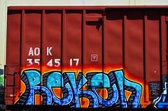 Reken (nunya...nunyabusiness) Tags: art train graffiti paint graf tracks spraypaint boxcar freight aok reken