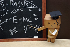 Prof Danbo (Vince454 Photo-desu) Tags: white toys book chalk photos vince hobby teacher math teaching dslr blackboard iphone danbo danboard