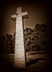 The Cross ( B.H.B. PHOTOGRAPHY ) Tags: trees shadow sky white sepia canon georgia flickr christ cross cemetary jesus lord tall savior mariettageorgia godsaves bhbphotography bhbphotography godsavesolesinners godissogoodtous