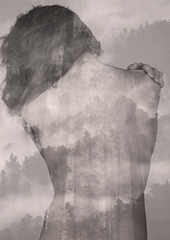 Back Double Exposure (Giorgetz) Tags: double cielo nuvola beauties nature woods wood forest women mountains mountain naked woman beauty trees tree skin landscape exposure back
