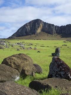 Vue sur le volcan Rano Raraku