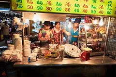 The Food Stall (gullevek) Tags: fuji fujixt1 fujinonxf1855mmf28f4rlmois market night people taipei taiwan things     taipeicity tw stall  food  light  sign  foodstall nightmarket
