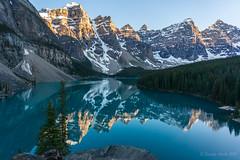 Moraine Lake sunset (NettyA) Tags: 2014 alberta banff banffnationalpark canada canadianrockies northamerica sonynex6 mountains travel sunset reflection water lake