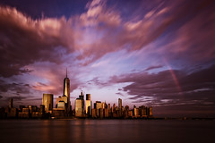 Skyline Rainbow ([ raymond ]) Tags: manhattan newyork nyc rainbow skyline img4372 nature weather city cityscape longexposure hudsonriver