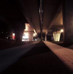 Katowice, Poland. (wojszyca) Tags: yashica mat 124g tlr 6x6 120 mediumformat slide tungsten fuji fujichrome t64 rtp epson 4990 city urban night longexposure viaduct katowice