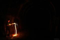 Wire Wool Fail (john&mairi) Tags: glasgow disused railway tunnel wire wool spin fail me dark night