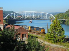 CSX 3106 (Trains & Trails) Tags: csx n72 coal train barge boat intercountybridge truss brownsville fayettecounty pennsylvania 3106 es44ac gevo ge generalelectric railroad engine locomotive diesel transportation yn3 widecab darkfuture loveridgesecondary
