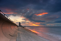 Catching the light at Redcar Vertical Pier. (paul downing) Tags: pauldowning pd1001 pauldowningphotography nikon d7200 sunset redcar northyorkshire northsea windfarm verticalpier hitech gnd 12 filters