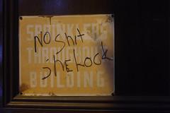No Shit Sherlock (pasa47) Tags: newyork newyorkcity nyc 2016 august fujifilm fujixe1 manhattan sign scrawl night summer