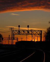 Winter CNW Sunset (GLC 392) Tags: cnw signal chicago northwestern signals search light lights sunset sun set clouds sky gold golden rails rochelle il illinois silhouette trees life amazing awesome simple up union pacific railroad railway